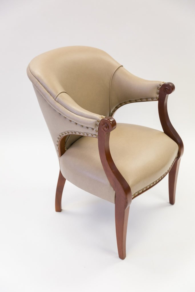 Tan chair after upholstery full view