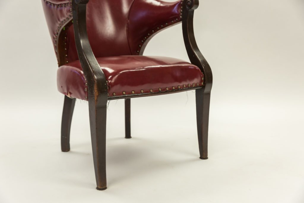 Red chair before upholstery seat