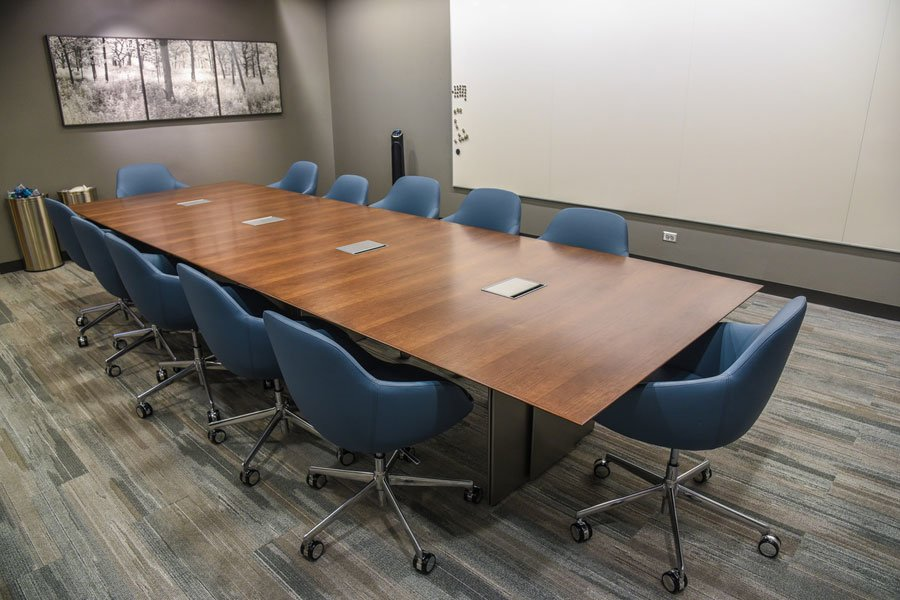 refinished veneer conference table