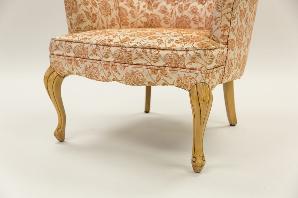 Floral chair before upholstery