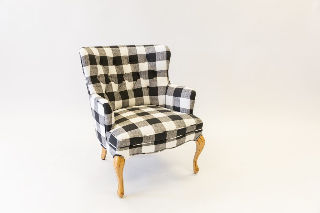 Plaid chair after upholster
