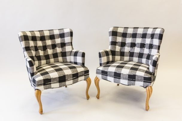 Plaid chairs after upholster