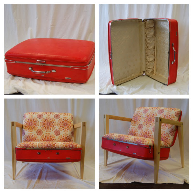 Custom Furniture – MCM Chair Made From Vintage Suitcase!!