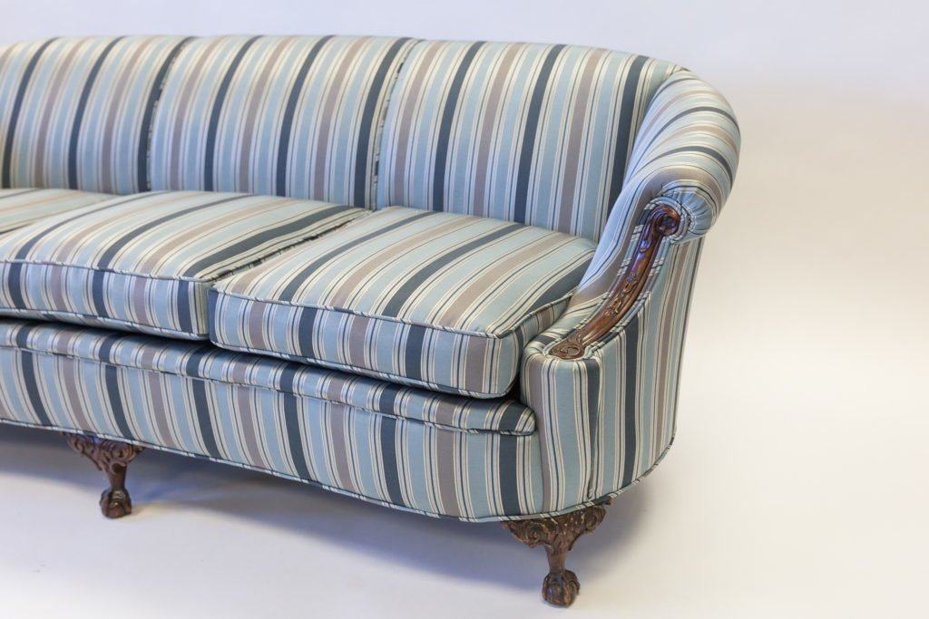 Upholstered coach stripped fabric