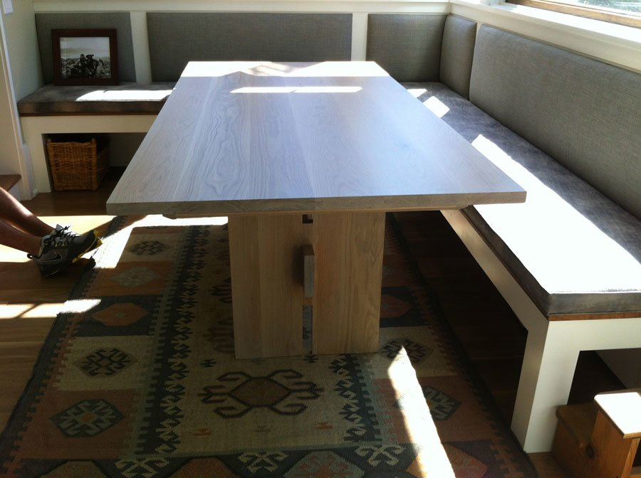 This Custom Banquette Table Was Crafted Out Of White Oak. It Is Utilizing A  Trestle Style With A Whitewater Finish. The Planks Were Joined With A  Floating ...